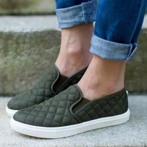 Olive Quilted Sneakers